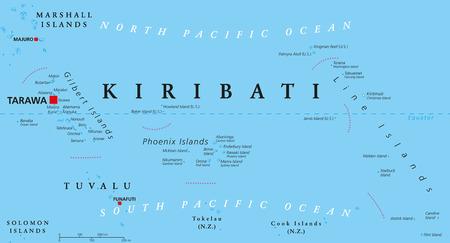 Kiribati Political Map With Capital Tarawa Republic And Island