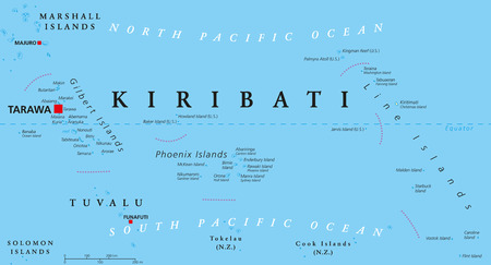 coastline: Kiribati political map with capital Tarawa. Republic and island nation in central Pacific Ocean. Archipelago with three main groups, Gilbert, Phoenix and Line Islands. English labeling. Illustration.