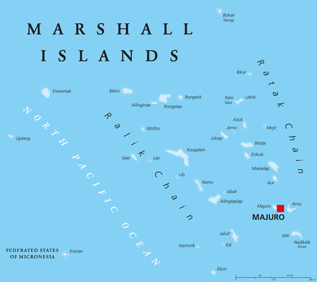 pacific ocean: Marshall Islands political map with capital Majuro. Republic and island country near the equator in the Pacific Ocean in Micronesia. English labeling. Illustration. Illustration