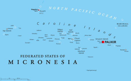 sovereign: Federated States of Micronesia political map with capital Palikir. An independent sovereign island nation consisting of four united states spread across the Western Pacific Ocean. English labeling.