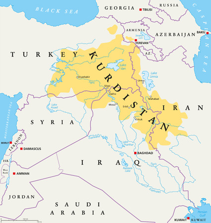 greater: Kurdistan, Kurdish lands political map. Cultural region wherein Kurdish people form a prominent majority. Greater Kurdistan includes parts of Turkey, Syria, Iraq, Iran and Armenia. English labeling. Illustration