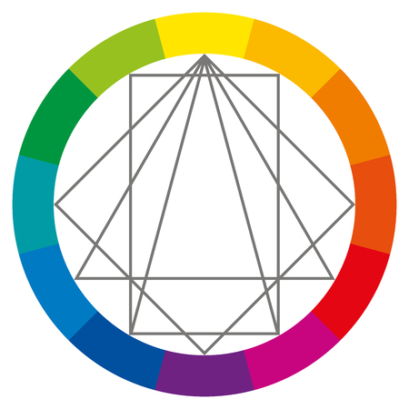 green and purple: Color wheel showing complementary colors that are used in art and paintings. Square, rectangle and two triangles can be turned around to show possible color combinations. Color theory. Illustration. Illustration