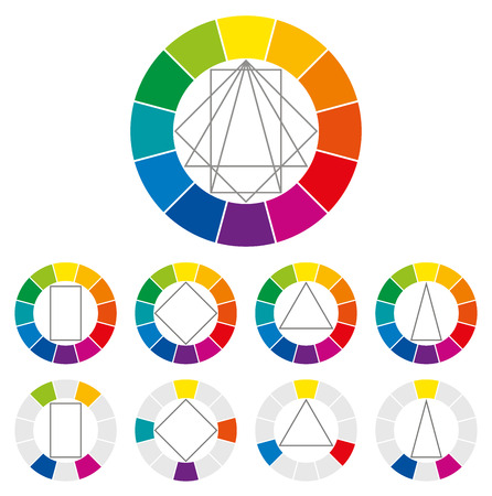 color theory: Color wheel with four different geometric forms that can be turned around in the circle to show many possible harmonic combinations of colors in art and for paintings. Color theory. Illustration.