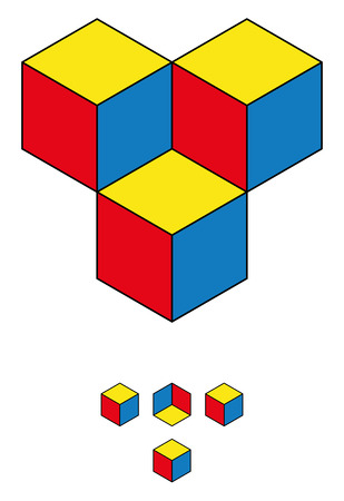 upper half: Find the fourth cube! Optical illusion with three cubes and the hidden fourth one in the upper half of the image. The solution is shown in the lower half. Geometrical illusion.