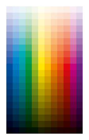 Color table light and dark. Twelve basic colors gradated from white to the black in ten percent steps. CMYK print palette analogous to subtractive color circle developed from red, yellow and blue.