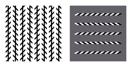 seem: Zoellner optical illusion. In the left figure the vertical black lines seem to be unparallel, but in reality they are parallel. In the right figure the horizontal brick lines are also parallel.