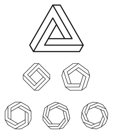 Penna rosa triangolo e poligoni gradated nero. Pen Tribar rosa, un oggetto impossibile, sembra essere un oggetto solido, costituito da tre barre diritte. Inoltre quadrato, pentagono, esagono, ottagono e heptagon.