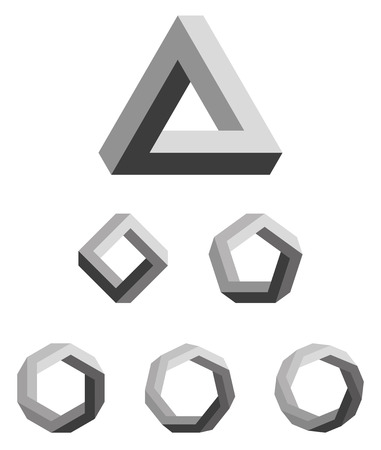 heptagon: Pen rose triangle and polygons outline. The Pen rose tribar, an impossible object, appears to be a solid object, made of three straight bars. Further square, pentagon, hexagon, heptagon and octagon. Illustration