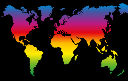 Rainbow colored world map on black background.
