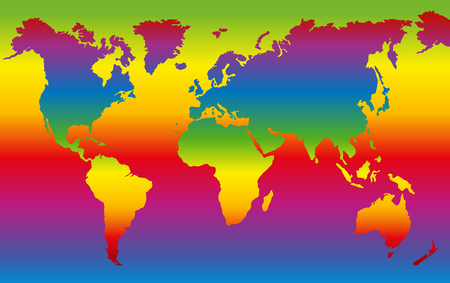 rainbow colors: Rainbow colored world map - planet earth in dazzling colors.