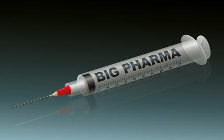 pharma: BIG PHARMA - labeled syringe on green background.