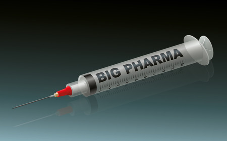 BIG PHARMA - labeled syringe on green background.