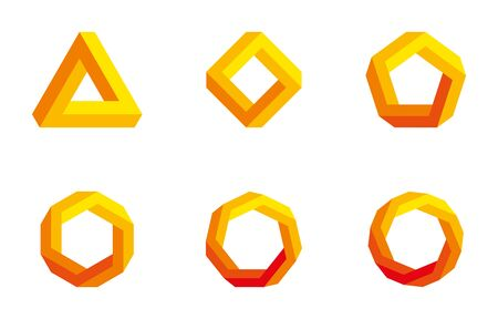 heptagon: Pen rose triangle and polygons in yellow and orange colors. Pen rose tribar, an impossible object, appears to be a solid object. Further square, pentagon, hexagon, heptagon and octagon. Illustration.