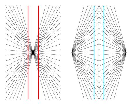ヘリングとヴント幾何学的錯視。2 つの直線と平行の赤い線は、外側に湾曲された彼らと 2 本の青い縦線内側お辞儀のように見えるかのように表示さ