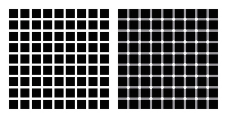 appear: Hermann grid and scintillating grid illusion. In the left figure grey blobs perceived at the intersections. In the right figure dark dots seem to appear and disappear rapidly, hence scintillating. Illustration