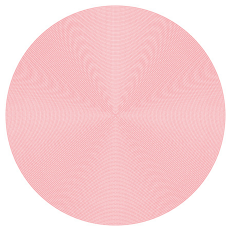Radial dot pattern. Red dots going from the center outwards and form circles like pearl strings. Useful as template or background. Illustration on white background.