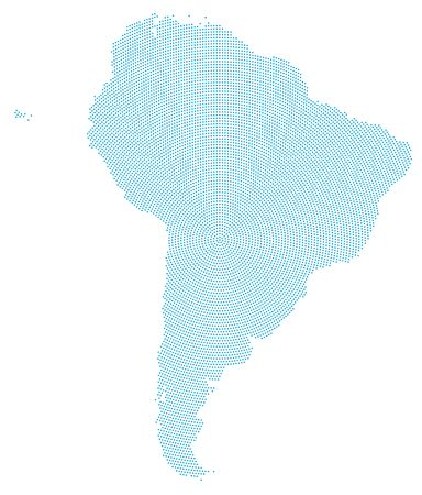 outwards: South America map radial dot pattern. Blue dots going from the center outwards and form the silhouette of the continent. Illustration on white background.