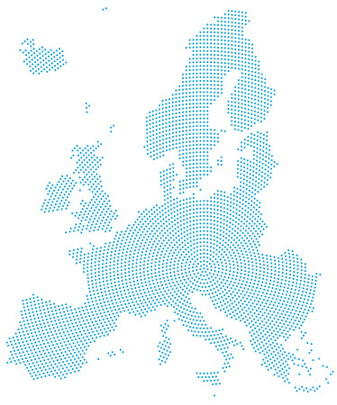 Europe map radial dot pattern. Blue dots going from the center outwards and form the silhouette of the European Union area. Illustration on white background.