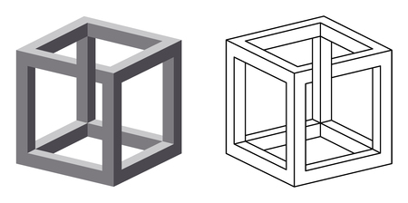 certain: Impossible cube optical illusion. Also known as irrational cube an impossible object invented by M.C. Escher. Viewed from a certain angle, this cube appears to defy the laws of geometry. Illustration.