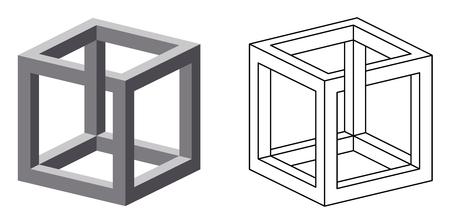 Onmogelijke kubus optische illusie. Ook bekend als irrationeel kubus een onmogelijke figuur uitgevonden door MC Escher. Bezien vanuit een bepaalde hoek, deze kubus lijkt de wetten van de geometrie trotseren. Illustratie. Stock Illustratie