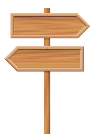 sign posts: Wooden sign posts pointing in opposite directions.