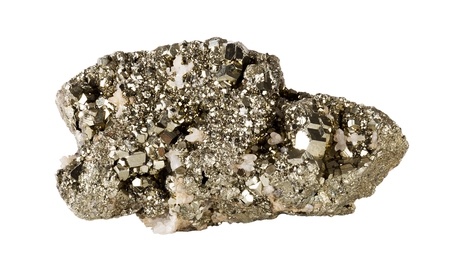 Pyrite on white background, also known as iron pyrite and fools gold, is an iron sulfide with the chemical formula FeS2. Other names are brass, brazzle and Brazil. Dodecahedron shaped crystals. Photo.