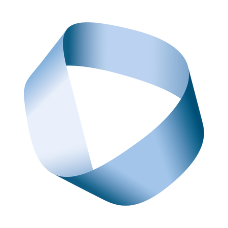 블루 뫼비우스 스트립 또는 뫼비우스 밴드. 단면이 하나 뿐인 경계. 수학이 아닌 방향. 종이 스트립을 가져 와서 절반 비틀린 다음 스트립 끝을 결합하
