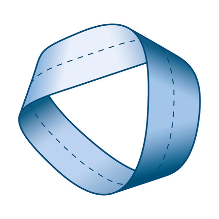 Blue Moebius strip or Mobius band with centerline. Surface with only one side and one boundary. Take a paper strip and give it a half twist, then join the strip ends to form the loop. Illustration