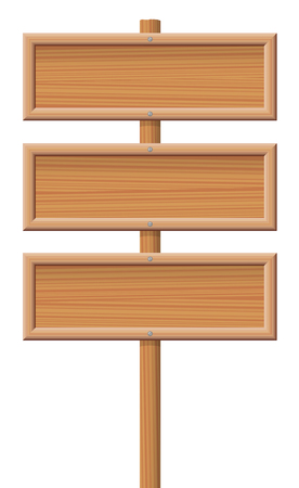 letreros: Tres letreros de madera atornilladas sin marcar en un poste de madera.