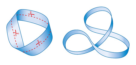 Cutting a Moebius strip along the center line with a pair of scissors yields one long strip with two full twists in it, rather than two separate strips. The result is not a Moebius strip. Mobius band.