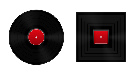 insoluble: Square the circle metaphor with round and square vinyl record.