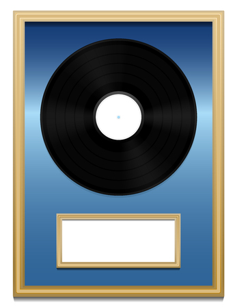 unlabeled: Vinyl record - Music award with unlabeled plaque in a golden frame on blue ground.