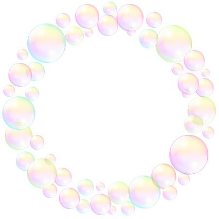bulles de savon: Les bulles de savon, cadre circulaire, r�aliste illustration en trois dimensions. Illustration