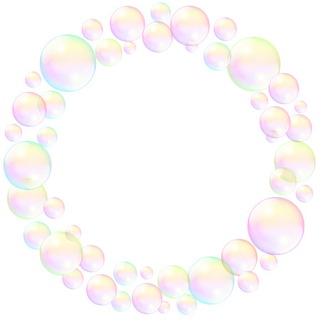 burbujas de jabon: pompas de jab�n, marco circular, ilustraci�n realista en tres dimensiones. Vectores