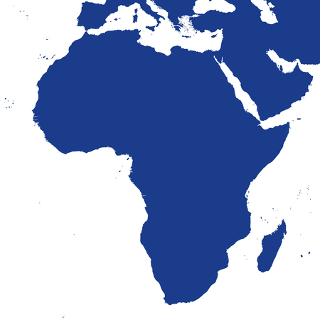 coastlines: Africa political map and surrounding region. Blue silhouette illustration on white background.