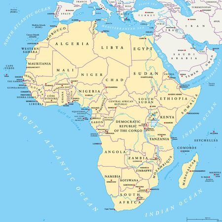labeling: Africa political map with capitals, national borders, rivers and lakes. Continent surrounded by Mediterranean Sea, Red Sea, Indian Ocean and Atlantic Ocean including Madagascar. English labeling.