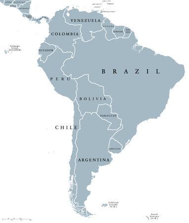 South America countries political map with national borders. Continent surrounded by Pacific and Atlantic Ocean. English labeling. Illustration. Illustration