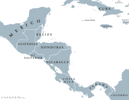 labeling: South America countries political map with national borders. Continent surrounded by Pacific and Atlantic Ocean. English labeling. Illustration. Illustration