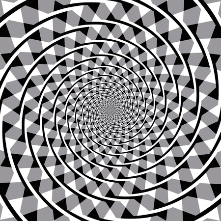 Fraser spiral optical illusion. Also known as the false spiral or the twisted cord illusion. The overlapping arc segments appear to form a spiral, but the arcs are a series of concentric circles. Stok Fotoğraf - 63995101