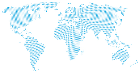 World map radial dot pattern. Blue dots going from the center outwards and form the silhouette of the surface of the Earth under the Robinson projection. Illustration on white background.