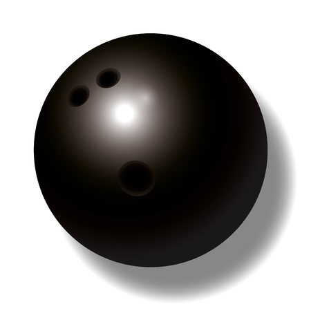 competitive sport: Black bowling ball with three holes - three-dimensional - realistic. Illustration