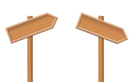 Guideposts rivolta verso l'alto e verso il basso -, frecce in legno senza etichetta.