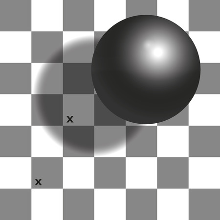 Checker shadow illusion - the two squares with x mark are the same shade of gray. Illustration