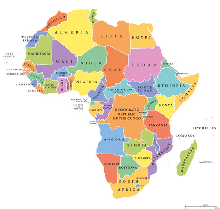 West Africa Countries Political Map With National Borders English - English world political map