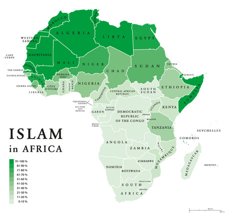sunni: Islam distribution in Africa. Political map of Muslim population in African countries in ten percent scale and green color. English labeling. Illustration