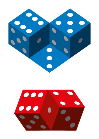 Optical illusions with dice. Geometrical illusion with blue and red dice. Illustration on white background.