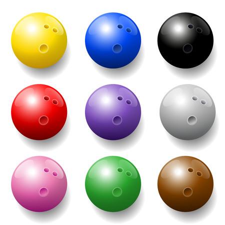 balls: Bowling balls - nine different colors - three-dimensional. Illustration