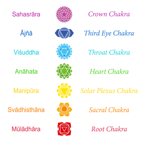 sanskrit: Sanskrit names of the seven main chakras.