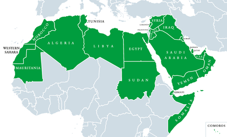 Arab World political map, also called Arab nation, consists of twenty-two arabic-speaking countries of the Arab League. All nations in green color, plus Western Sahara and Palestine. English labeling. 向量圖像