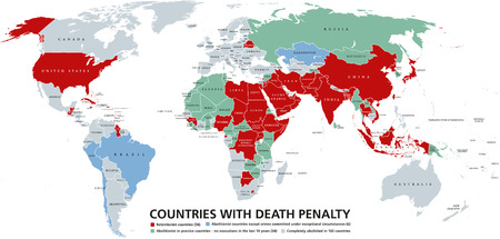 abolished: Death penalty countries world map. Retentionist states with capital punishment in red color. Abolitionist countries and nations where it is completely abolished in different colors. English labeling Illustration